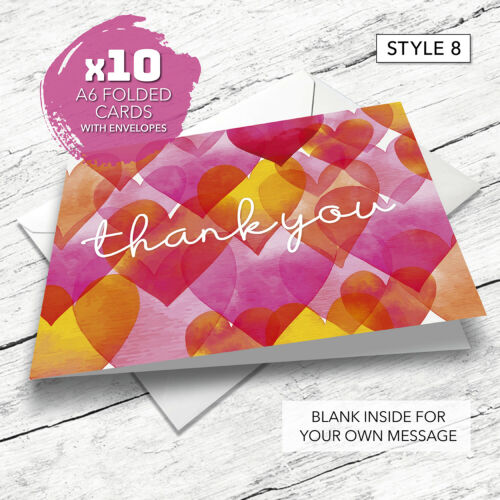 10 Pack Including Envelopes Birthday General Thank You Cards Wedding