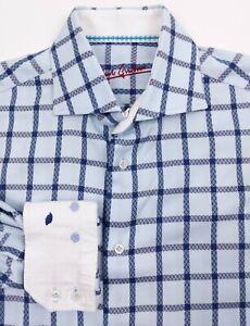 Robert-Graham-Men-039-s-Medium-15-5-Blue-Plaid-Shirt-Long-Sleeve-Flip-Cuff