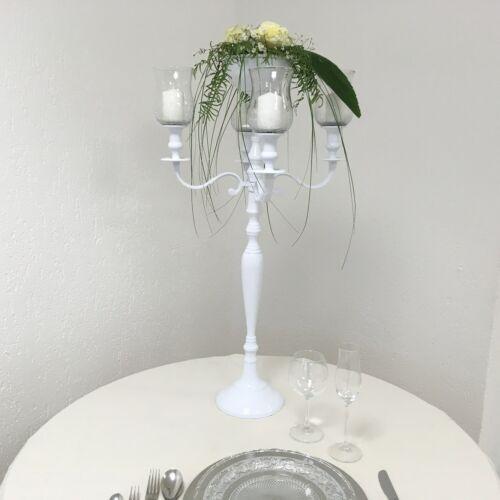 Blumenschale 90cm für Hochzeit Event Kerzenständer weiss mit 4x Glasaufsatz