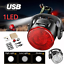 Bike 1//3 LED Head Light Bycicle Front Lamp with USB Rechargeable Tail Clip Light