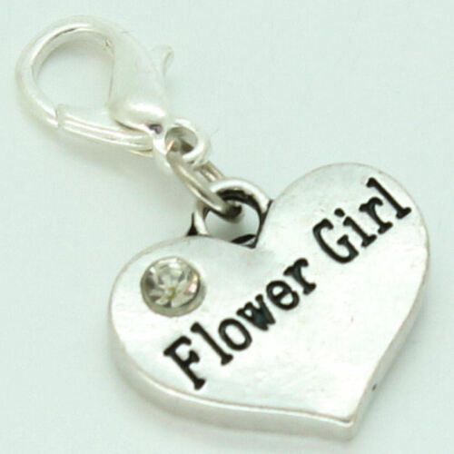 Personalised WEDDING Charm Clip On or Bail Fits Ladies Girls Bracelet Necklace