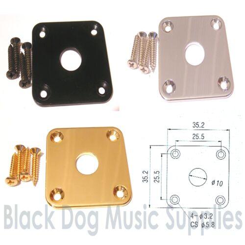 Quadratische Gitarre Klinkenstecker Platte in Chrom Schwarz oder Gold Buchse