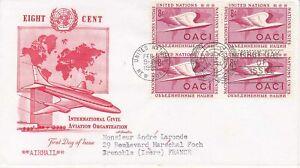 United-Nations-NY42-Enveloppe-1er-jour-1955-Civil-Aviation-Airmail-8c