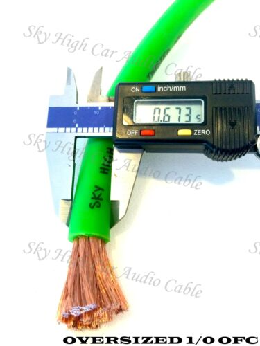 10 ft OFC 1//0 Gauge Oversized BLACK Power Ground Wire Sky High Car Audio