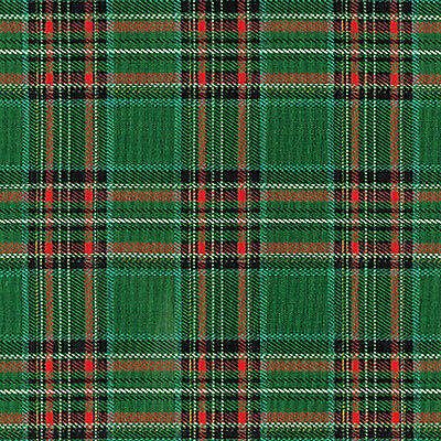 "COTTON UPHOLSTERY CURTAIN TABLETOP CUSHION FABRIC SCOTT TARTAN CHECK GREEN 44""W"