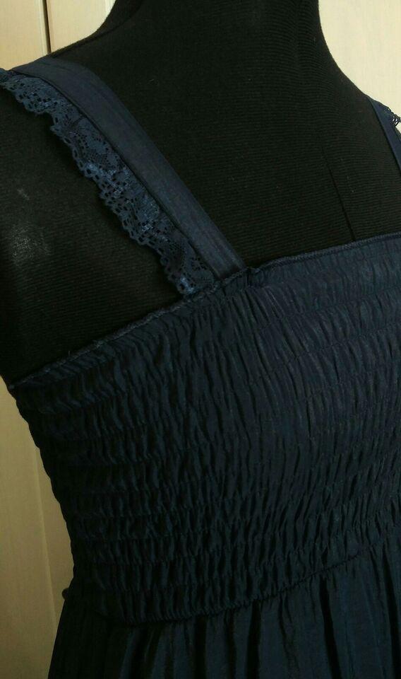 Kjole, Lang blå kjole, elastisk overdel