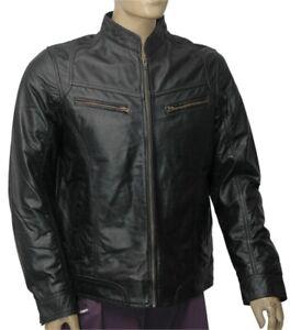 Nuevo-Para-hombres-Cuero-100-Real-Moto-moto-Color-Negro-Chaqueta-Tamano-L-9