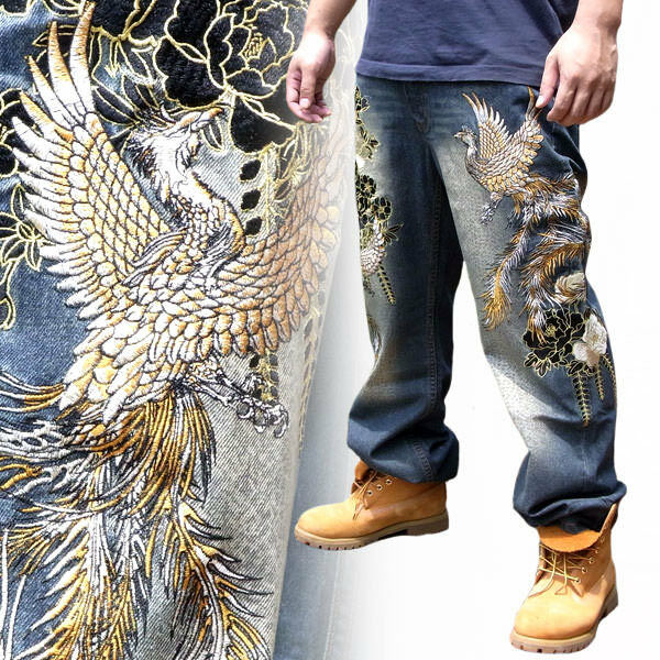 Japanese Pattern Embroidered Mens Jeans Straight Trousers Denim Totem Phoenix