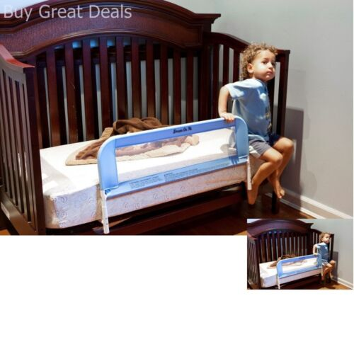 Convertible Crib Rail Toddler Baby Kids Bed Safety Mesh 33Inch Long Fastens Blue