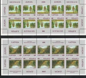 Latvia-Sc-484-5-1999-Europa-Parks-stamp-sheets-mint-NH-Free-Shipping