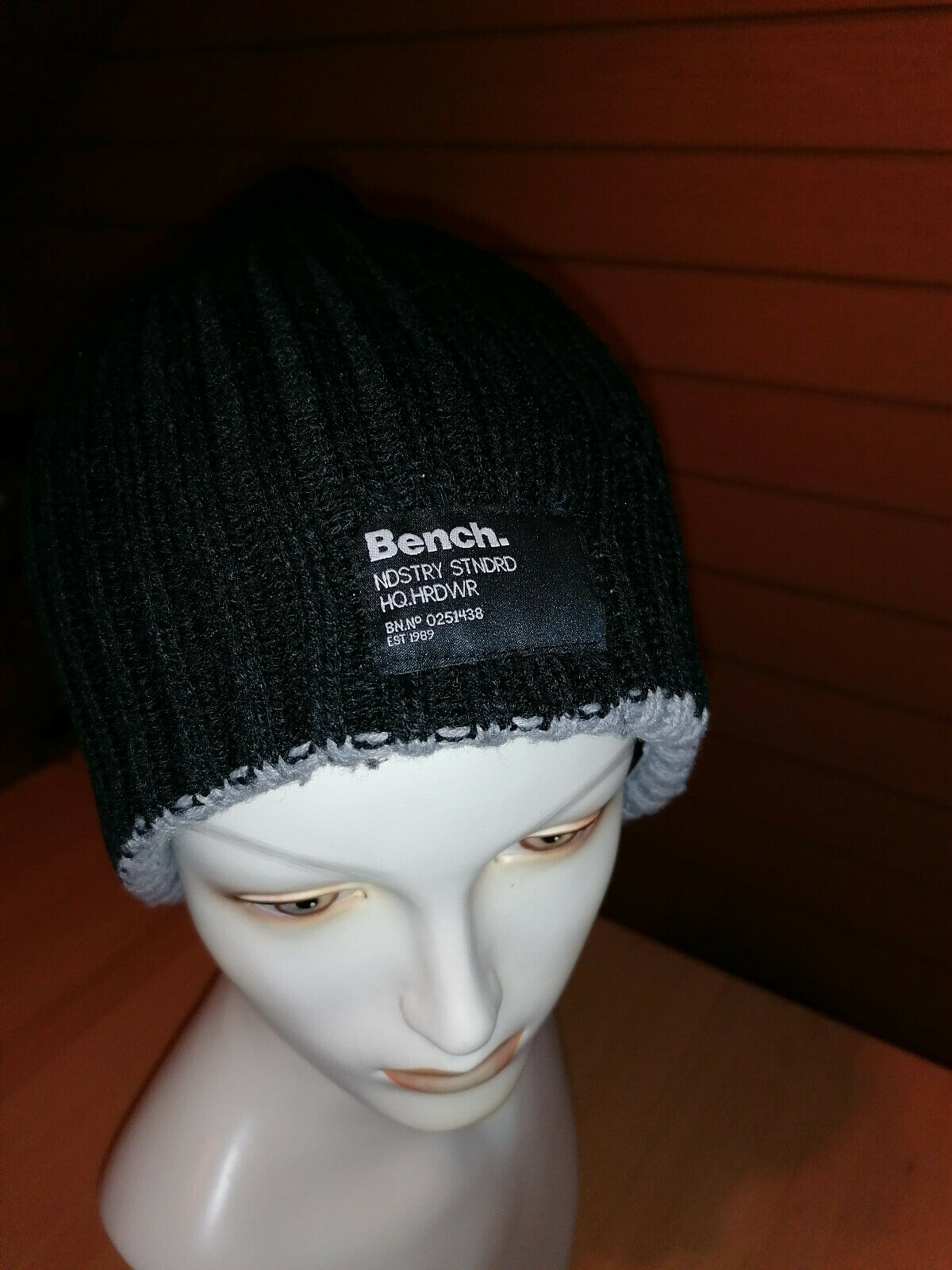 Bench Knitted REVERSIBLE HAT BLACK/GREY ONESIZE