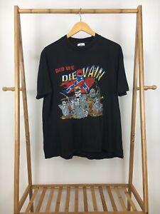 VTG-Did-We-Die-In-Vain-Skeleton-War-Battle-Single-Stitch-T-Shirt-Size-XL-RARE