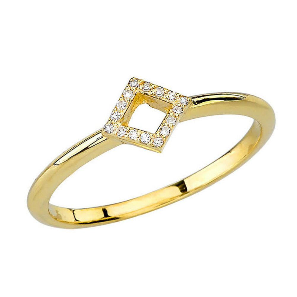 0.03 CTW Dainty Open Diamond Ring in Yellow gold