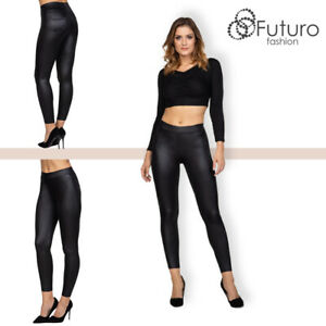 Womens Sexy Mat Look Leggings High Waisted Leather Imitation Pants Pockets FS161