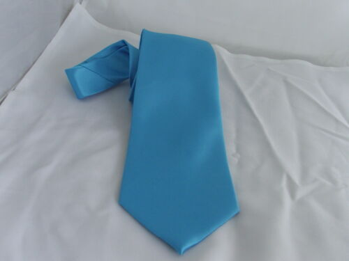 """Turquoise BLUE Mens Classic Polyester Necktie and Hanky Set-Tie 3.3/"""" = 8cm Width"""
