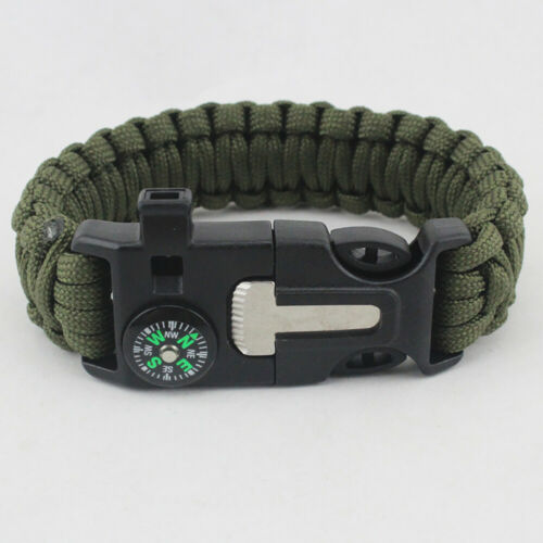 5in1 Compass Whistle Flint Paracord Bracelet Gear Tool Kit Fire Survival