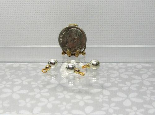 Dollhouse Miniature 6mm Wide Silver Metallic Christmas Ornaments Set of 3