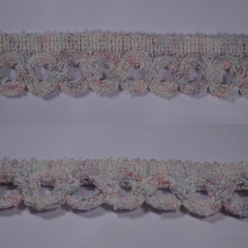 2m 22mm white mix vintage knitted braid trim edging upholstery crafts sewing