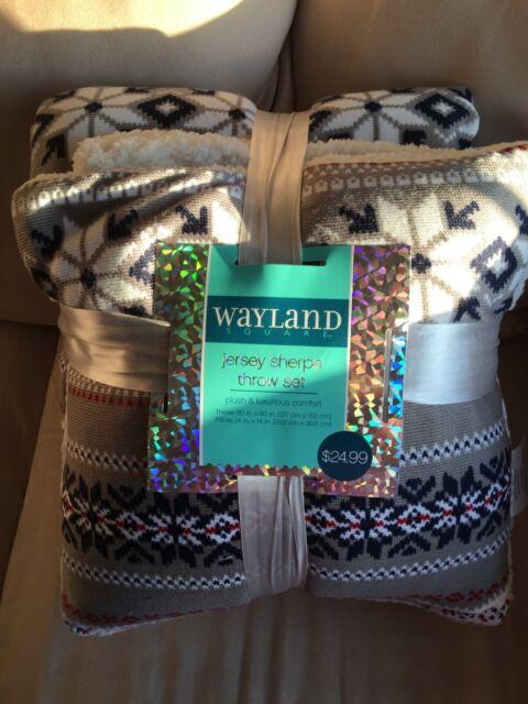 Wayland Square Jersey Sherpa Throw Set Blanket/Pillow