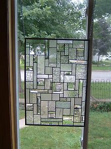 Ice clear stained glass window panel transom ebay for 15 panel beveled glass door