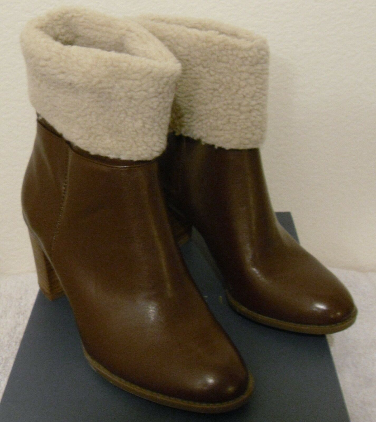 NIB Nickels Elise Womens Faux Fur Collar Ankle Boots 8 Cognac MSRP