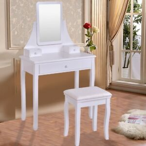 Details about Bedroom Vanity Wood Set Mirrored Makeup Dressing Table w/3  Jewelry Storage Box