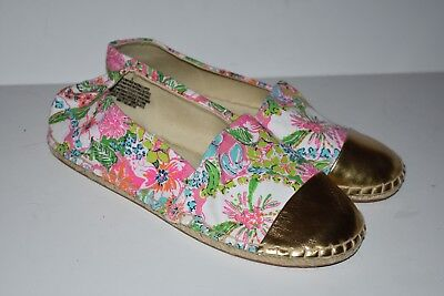 754a3928bd05d6 LILLY PULITZER For Target Espadrilles Shoes Nosie Posey Gold Toe Size 5