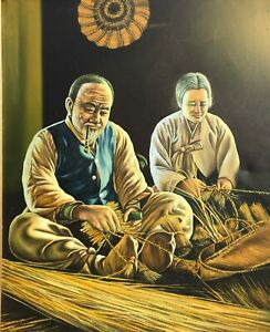 Vintage-Chinese-Asian-Canvas-Art-Print-Of-Man-And-Wife-Weaving-Straw