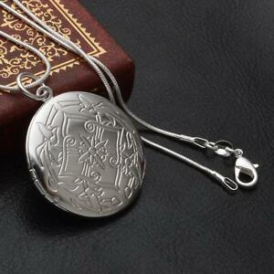 Women-Round-Pendant-Necklace-Sanke-Chain-Photo-Locket-Silver-Plated