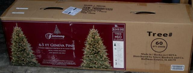 Nd New In Box Ttraditions 6 5 Foot Geneva Pine Pre Lit Christmas Tree