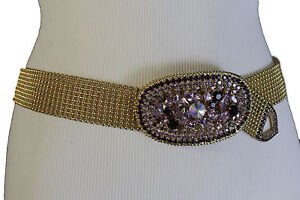 New High Waist Fashion Purple Faux Suede Leather Dressy Elastic Belt Stretch S M
