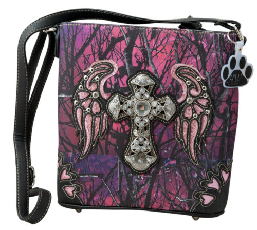 Camo Camouflage Rhinestone Cross Angel Wings Concealed Carry Crossbody Handbag