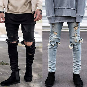 512062148937 Image is loading Mens-Biker-Trousers-Ripped-Destroyed-Jeans-Straight-Slim-