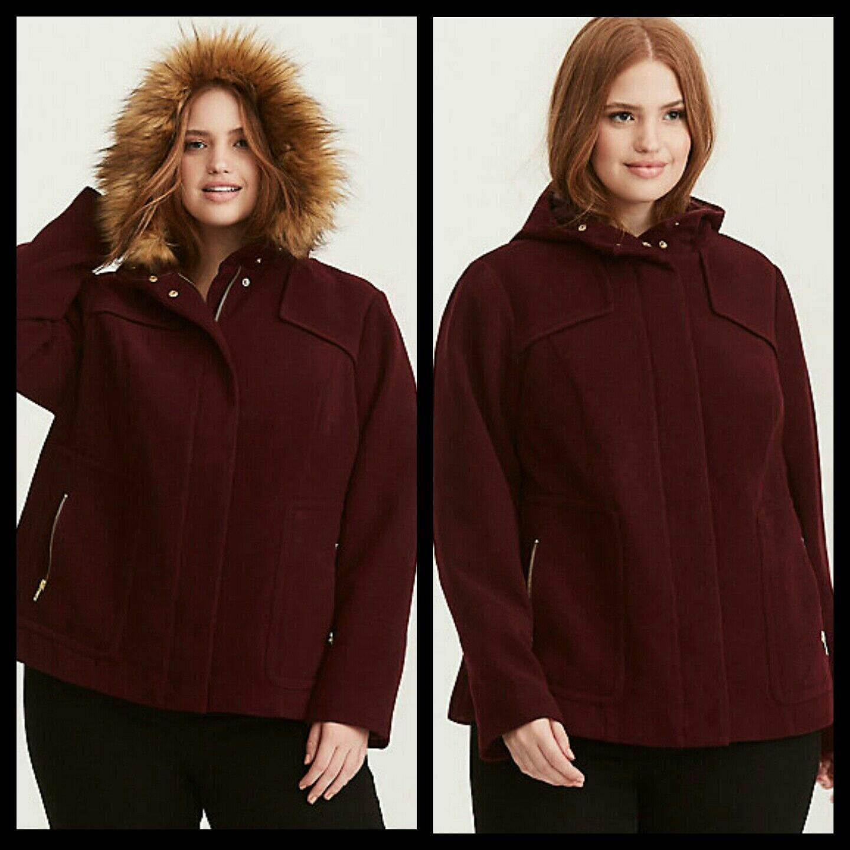 NWT Torrid Women's Faux Fur Hood Wool Coat Burgundy Plus Size 2 2X