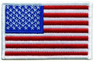 U.S. Flag Patch White Color Border - Stars on Left