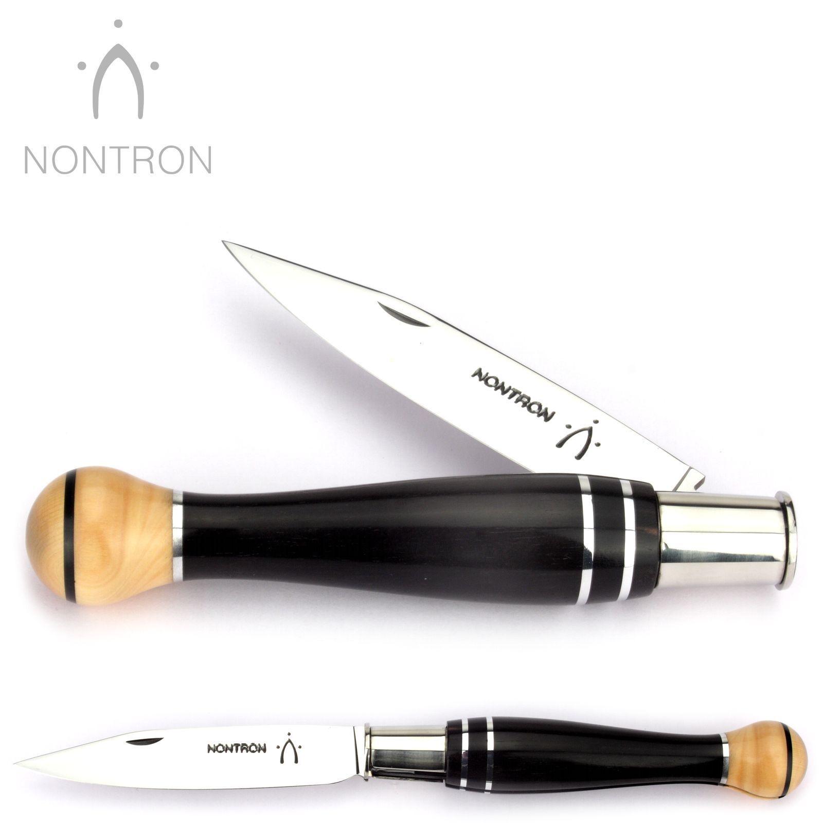 Nontron Taschenmesser - Ebenholz Buchsbaum - 12 cm - XC75 Carbonstahl Messer