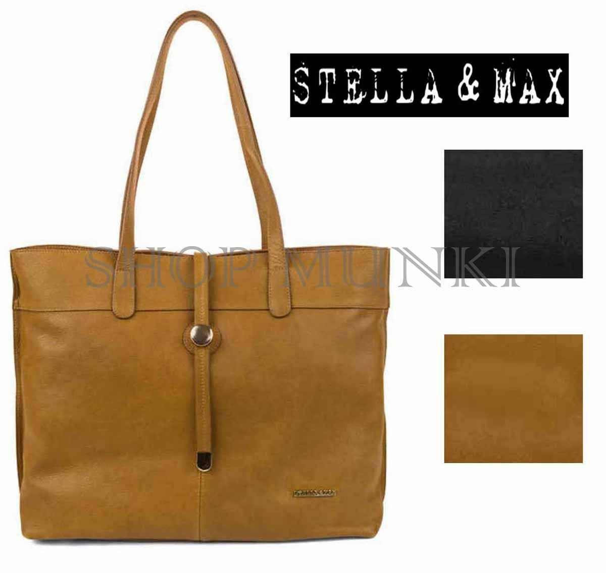 Stella   Max Leather Tote Hand Bag Purse Black Top Zip 1041553 SHOPPER for  sale online  86b925348d1f5
