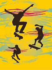 SKATE BOARDING RETRO YELLOW PHOTO ART PRINT POSTER PICTURE BMP2012A