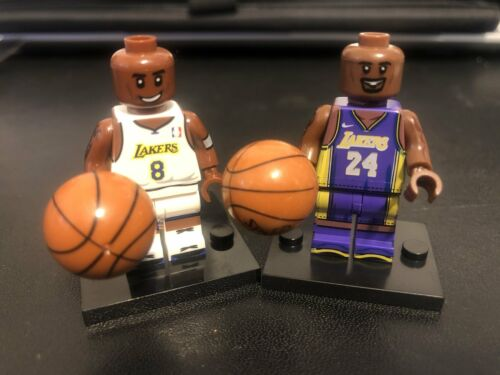 Block Minifigure Basketball NBA LA Lakers Kobe Bryant #24 Purple #8 White Jersey