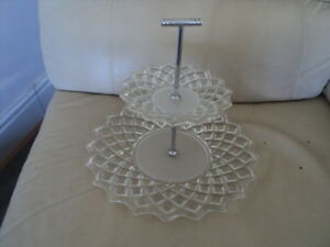 Vintage-2Tier-Glass-Cake-Stand-frosted-amp-Clear-Design-Serving-Display