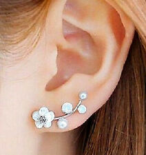 Ear Crawlers Earrings Pearl & Shell Flowers Cuff Climber Vine Hook NEW Jewelry