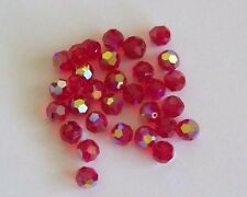 12 - Swarovski 8mm Crystal Light Siam AB  Faceted Round Beads #5000
