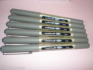 6x-Faber-Castell-Uniball-eye-fine-schwarz-148199-UB-157-Tinten-Kugelschreiber