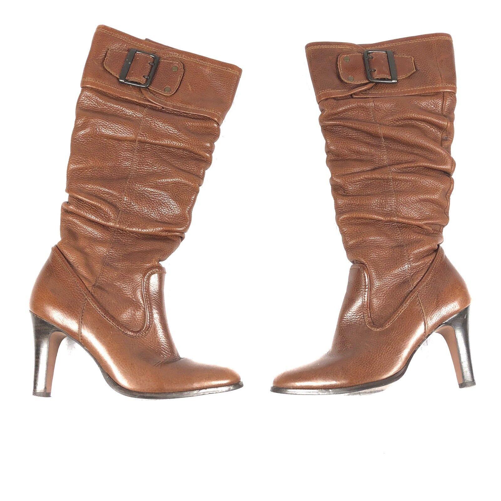 negozio online MATISSE donna donna donna stivali Dimensione 6 M Marrone leather slouchy buckles heels knee high tall  godendo i tuoi acquisti