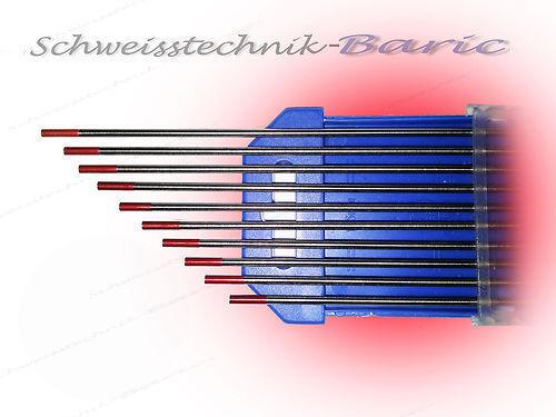 10 x Wolframelektrode ROT WT20 2,4 x 175 zum TIG//WIG WT-20 Wolframelektroden