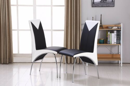 Faux Leather Dining Chairs Black & Red,Black & White,Full Black,Grey & White