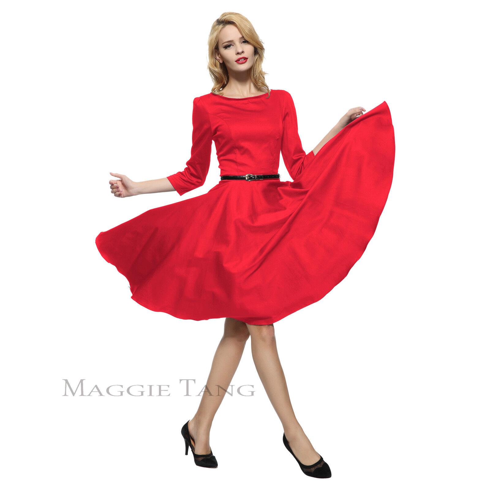 3f7c191a4264 Details about Maggie Tang 50s VTG Retro Hepburn One Shoulder Rockabilly  Swing Dress K-551