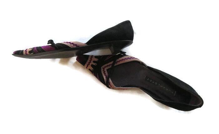 pura lopez des souliers à talons plats daim violet - points noir
