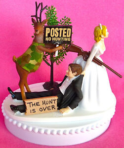 Image Is Loading Wedding Cake Topper No Hunting Themed Deer Green