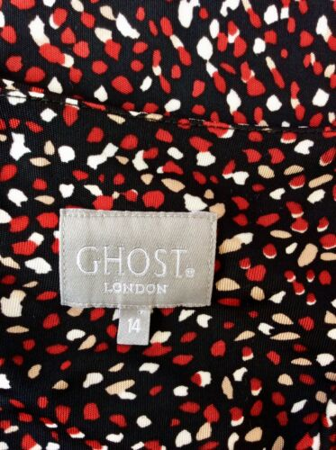 rossa a lunghe con stampa lunghe nera 14 Abito maniche e a maniche con beige scollo bianca Ghost BxUnBTwP